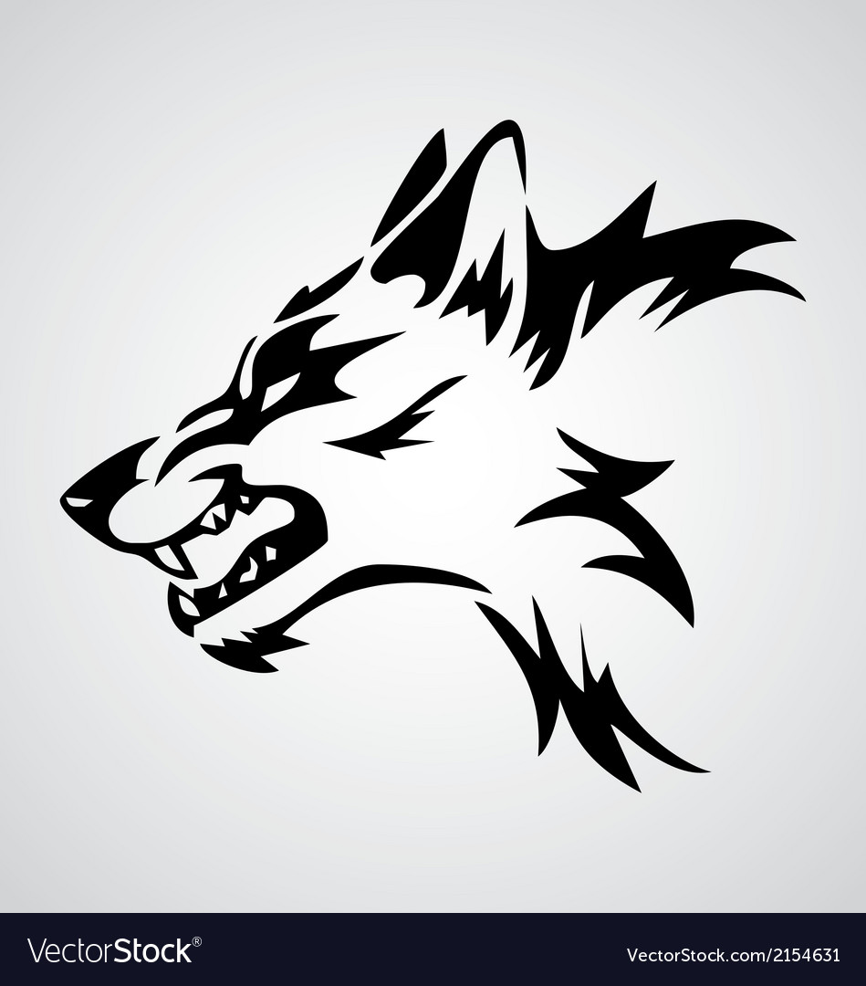 Angry wolf tribal vector | Price: 1 Credit (USD $1)