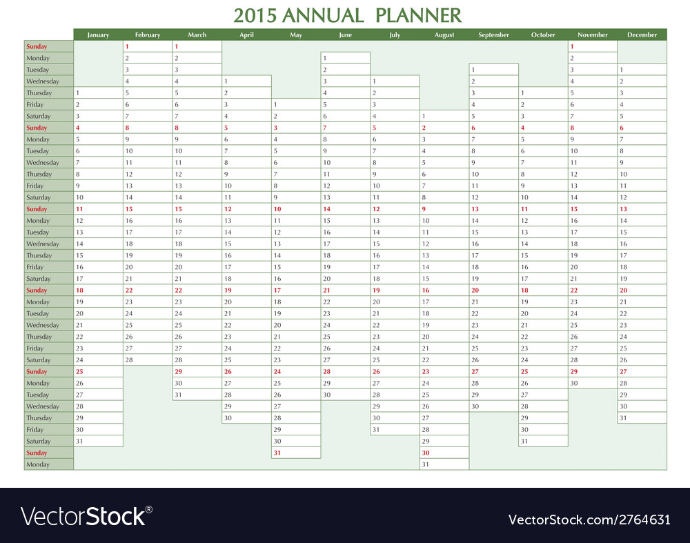 Annual planner 2015 english vector | Price: 1 Credit (USD $1)
