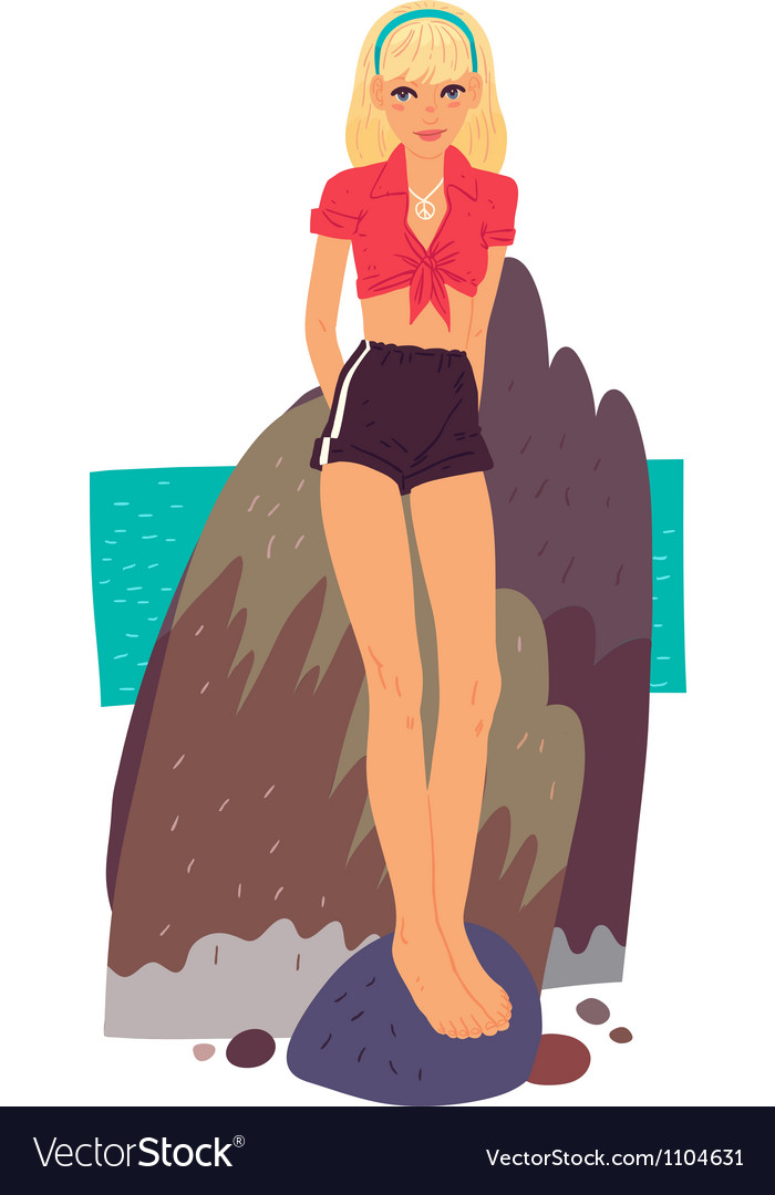 Beautiful sexy girl on a rocky shore vector | Price: 3 Credit (USD $3)