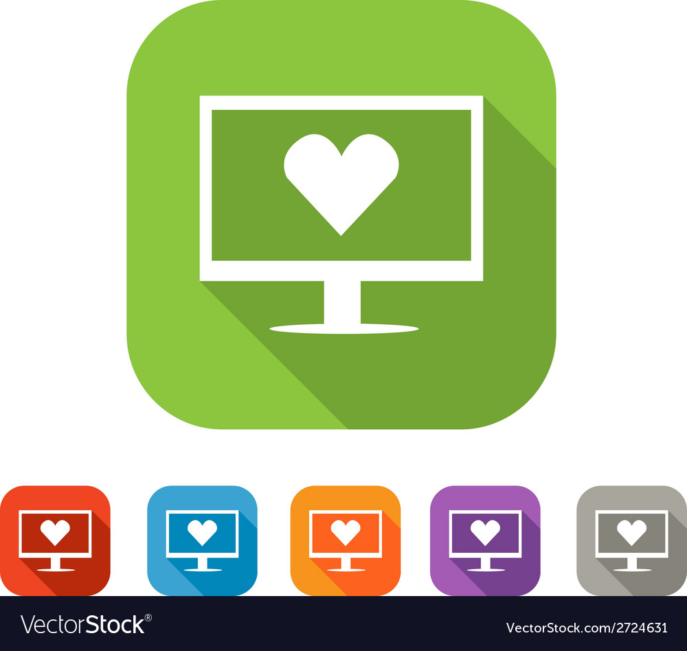 Color set of flat virtual love icon vector | Price: 1 Credit (USD $1)