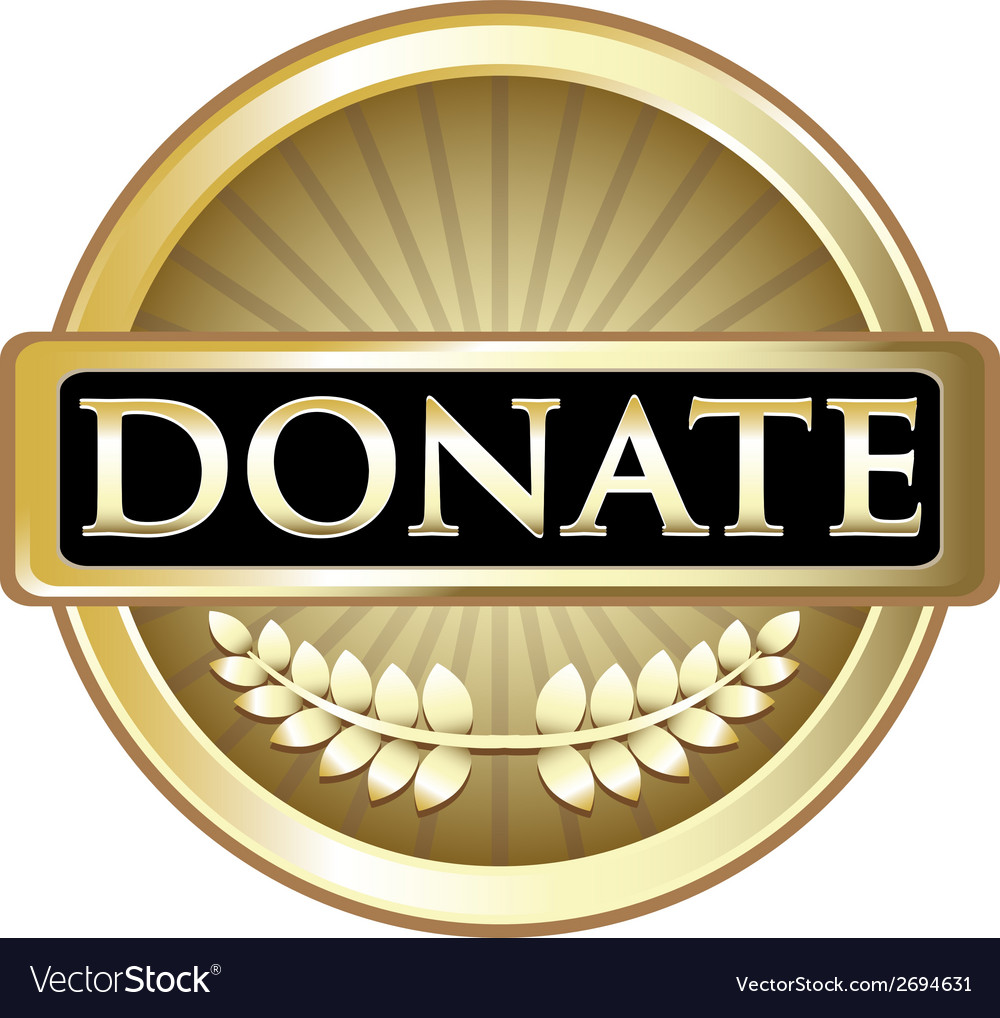 Donate gold label vector | Price: 1 Credit (USD $1)