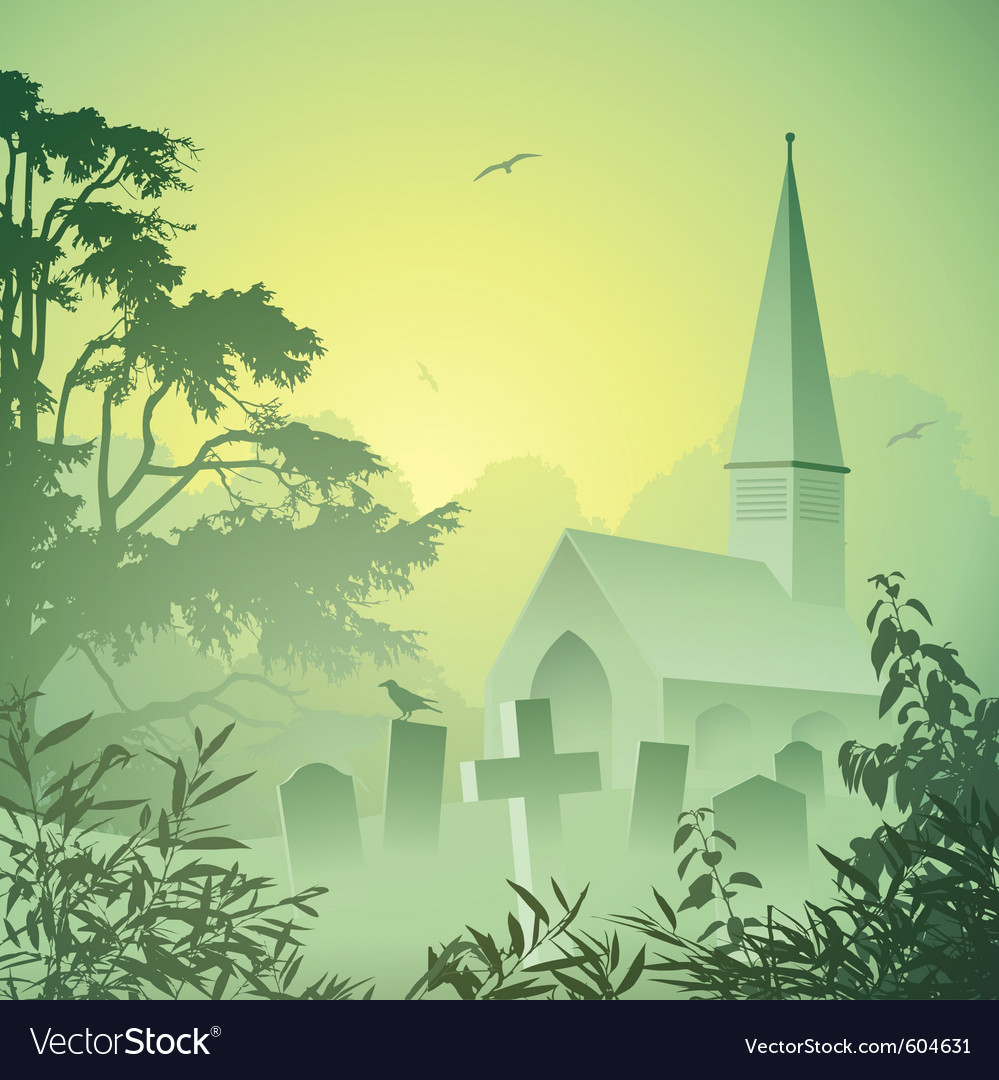 Landscape with church vector | Price: 3 Credit (USD $3)