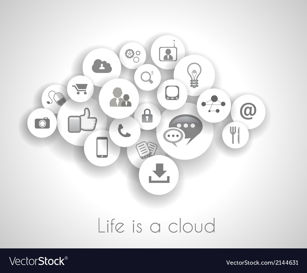 Social network life concept with cloud reference vector | Price: 1 Credit (USD $1)