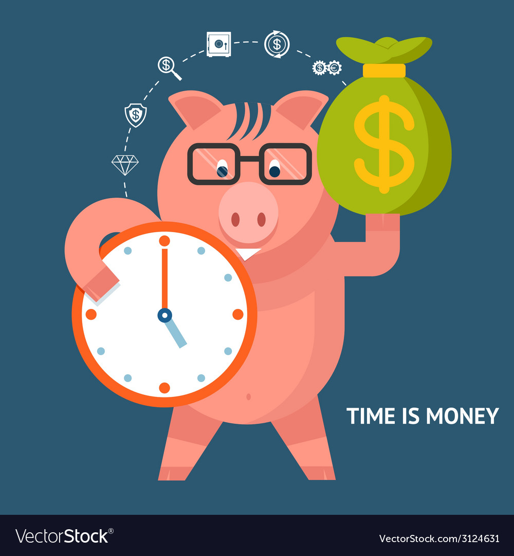 Time is money - banking pig vector | Price: 1 Credit (USD $1)