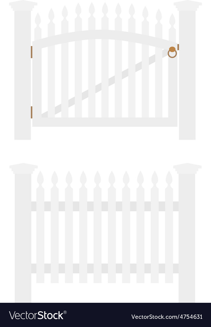 White fence and gate vector | Price: 1 Credit (USD $1)