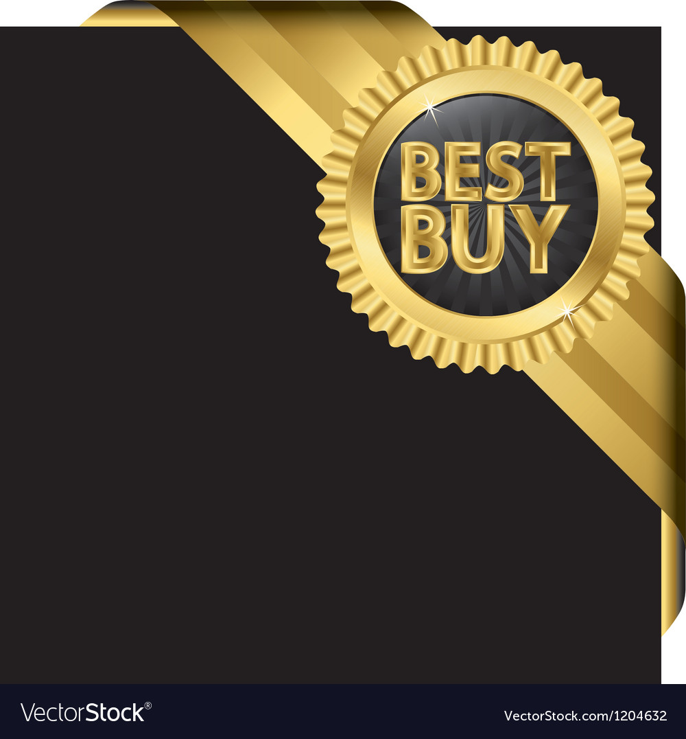 Best buy golden label with ribbons vector | Price: 1 Credit (USD $1)