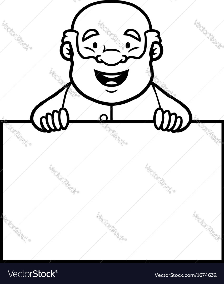 Black and white old man holding a blank sign vector | Price: 1 Credit (USD $1)