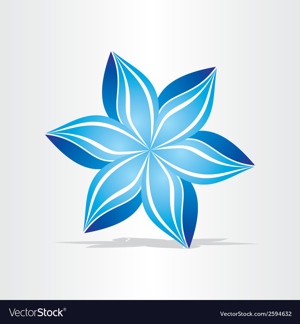 Blue flower abstract design vector | Price: 1 Credit (USD $1)