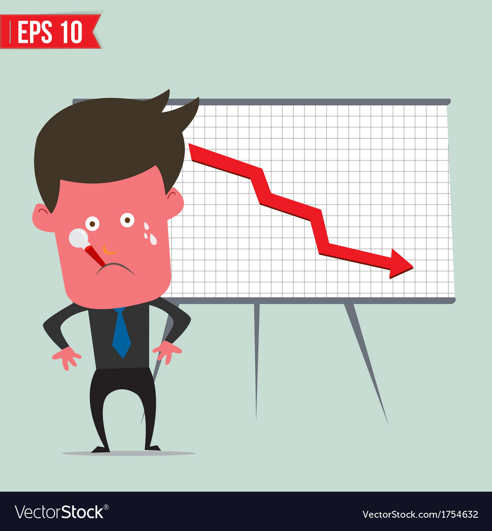Cartoon business man present with red graph - vector | Price: 1 Credit (USD $1)