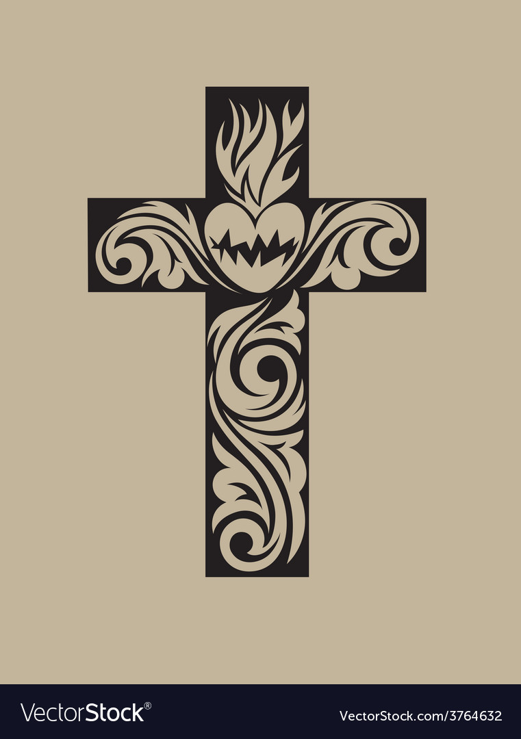 Cross floral ornament vector | Price: 1 Credit (USD $1)