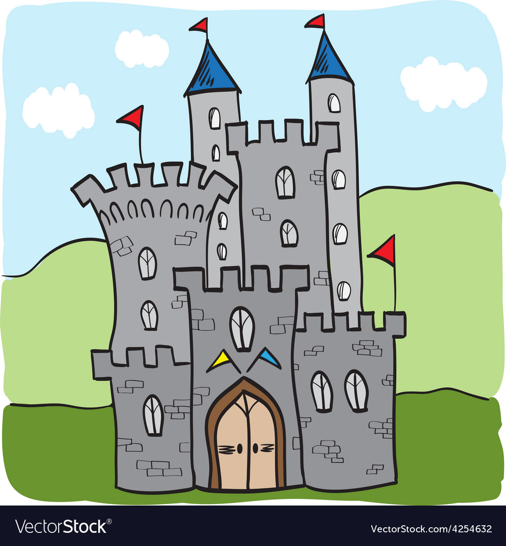Fairytale castle kingdom cartoon style vector | Price: 1 Credit (USD $1)