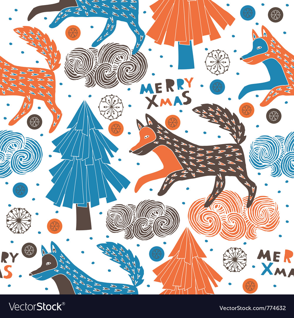 Merry xmas fox vector | Price: 1 Credit (USD $1)