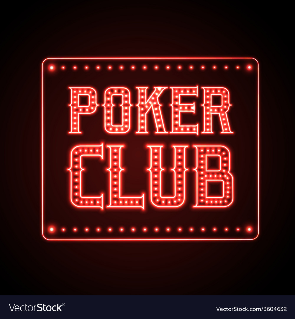 Neon sign poker club vector | Price: 1 Credit (USD $1)