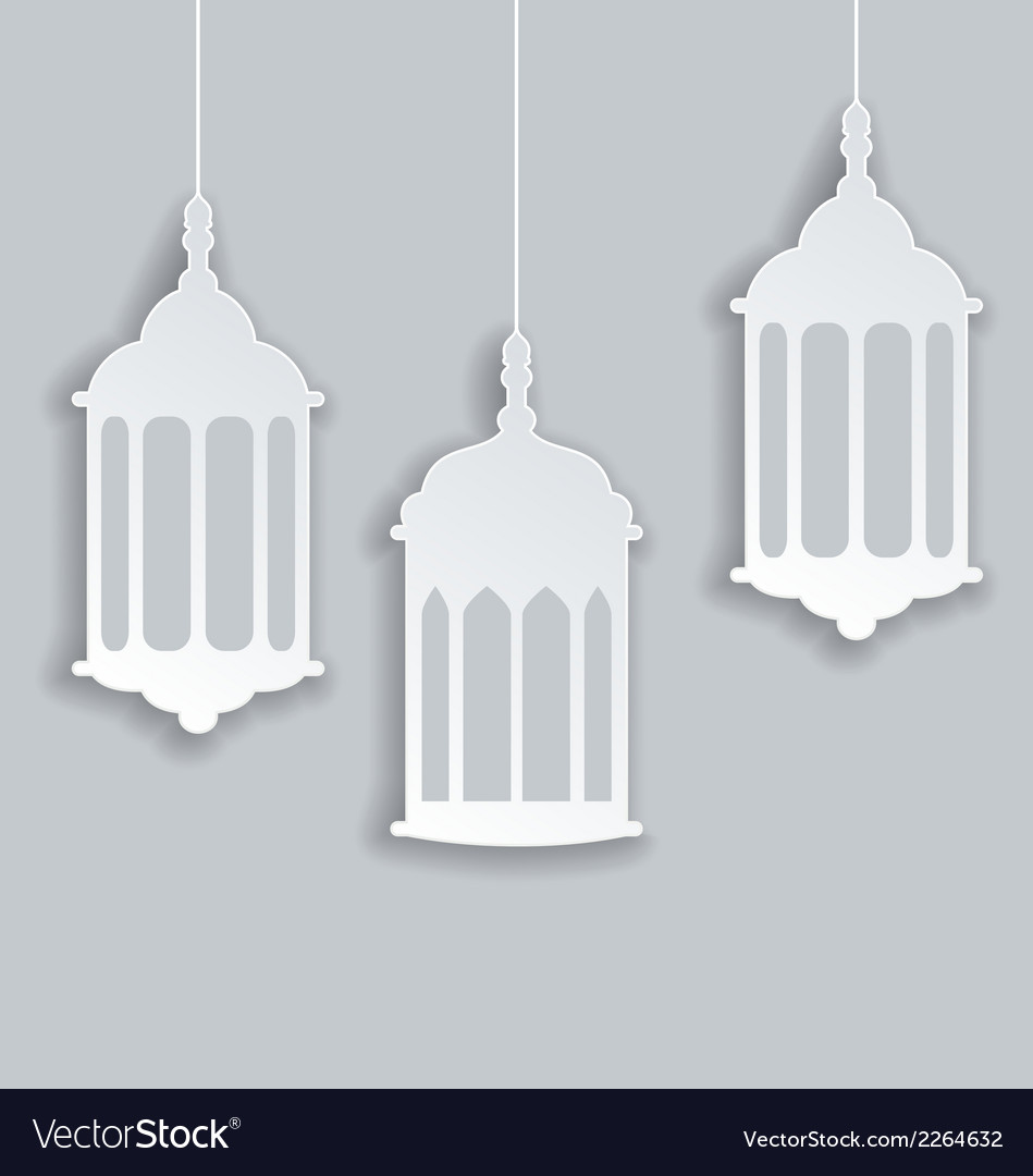 Paper arabic lamp with shadow for ramadan kareem vector | Price: 1 Credit (USD $1)