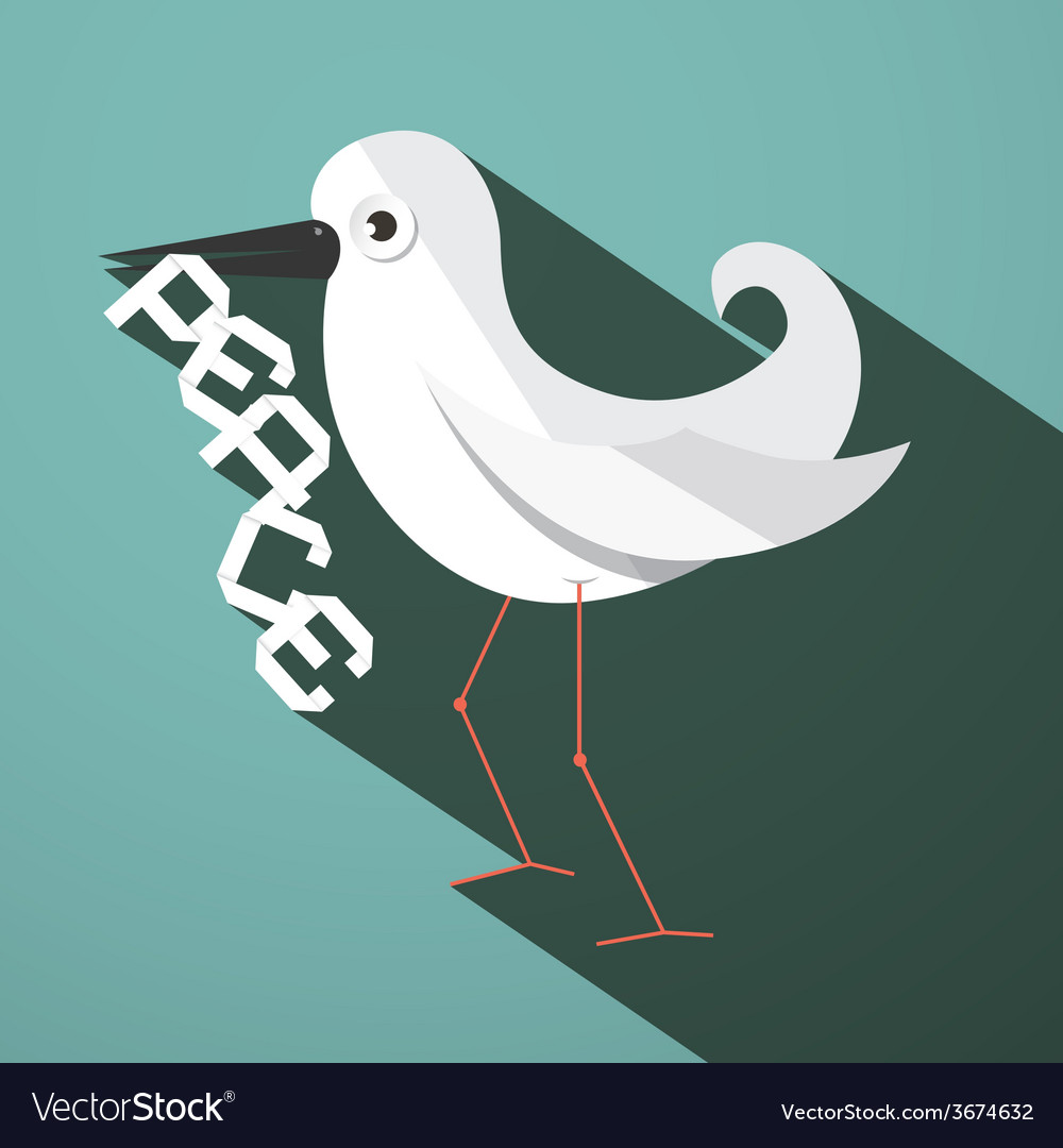 Peace dove retro flat design vector | Price: 1 Credit (USD $1)