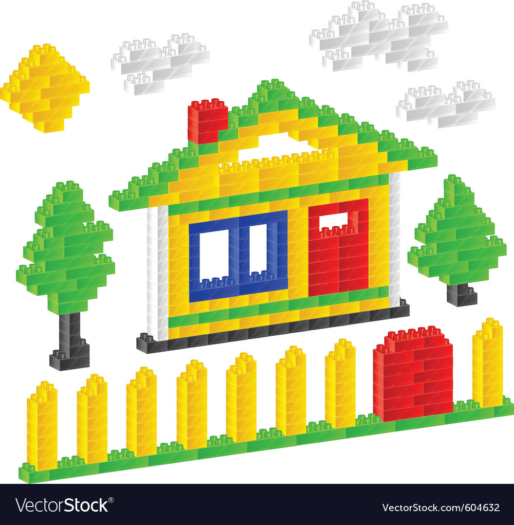 Plastic construction block house vector | Price: 1 Credit (USD $1)
