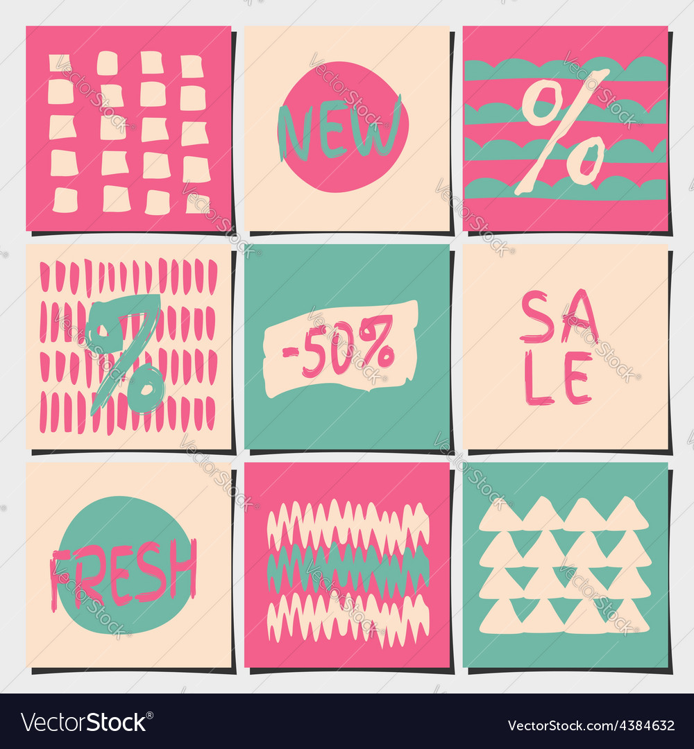 Sales and shopping tags abstract designs set vector | Price: 1 Credit (USD $1)