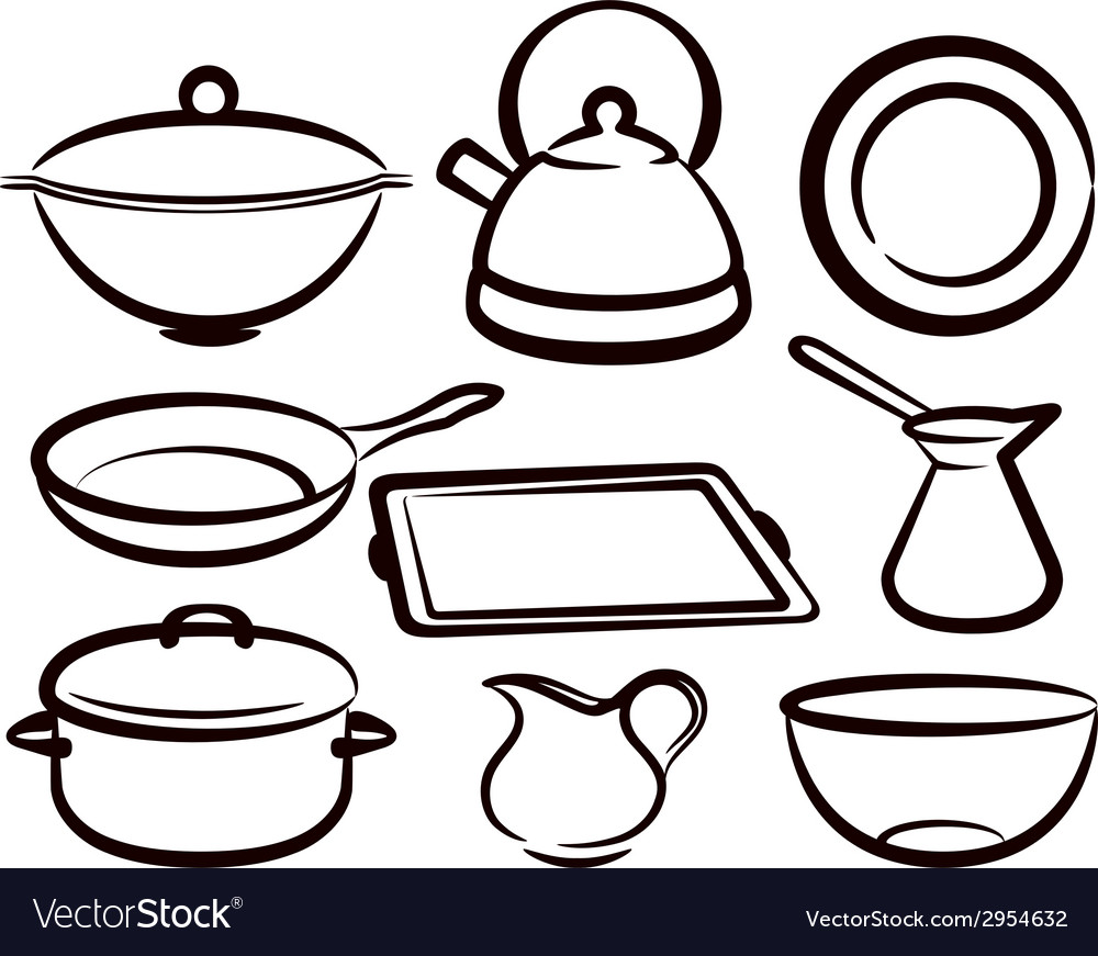 Set of kitchen utensil vector | Price: 1 Credit (USD $1)