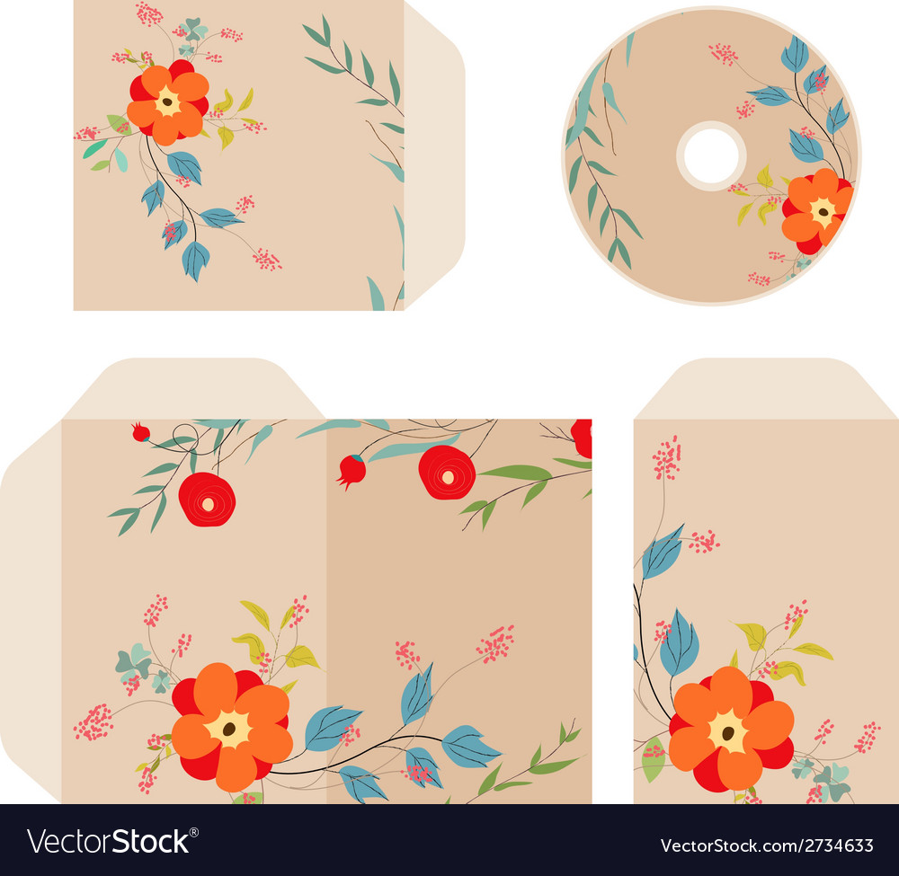 Brand identity florals retro vector | Price: 1 Credit (USD $1)