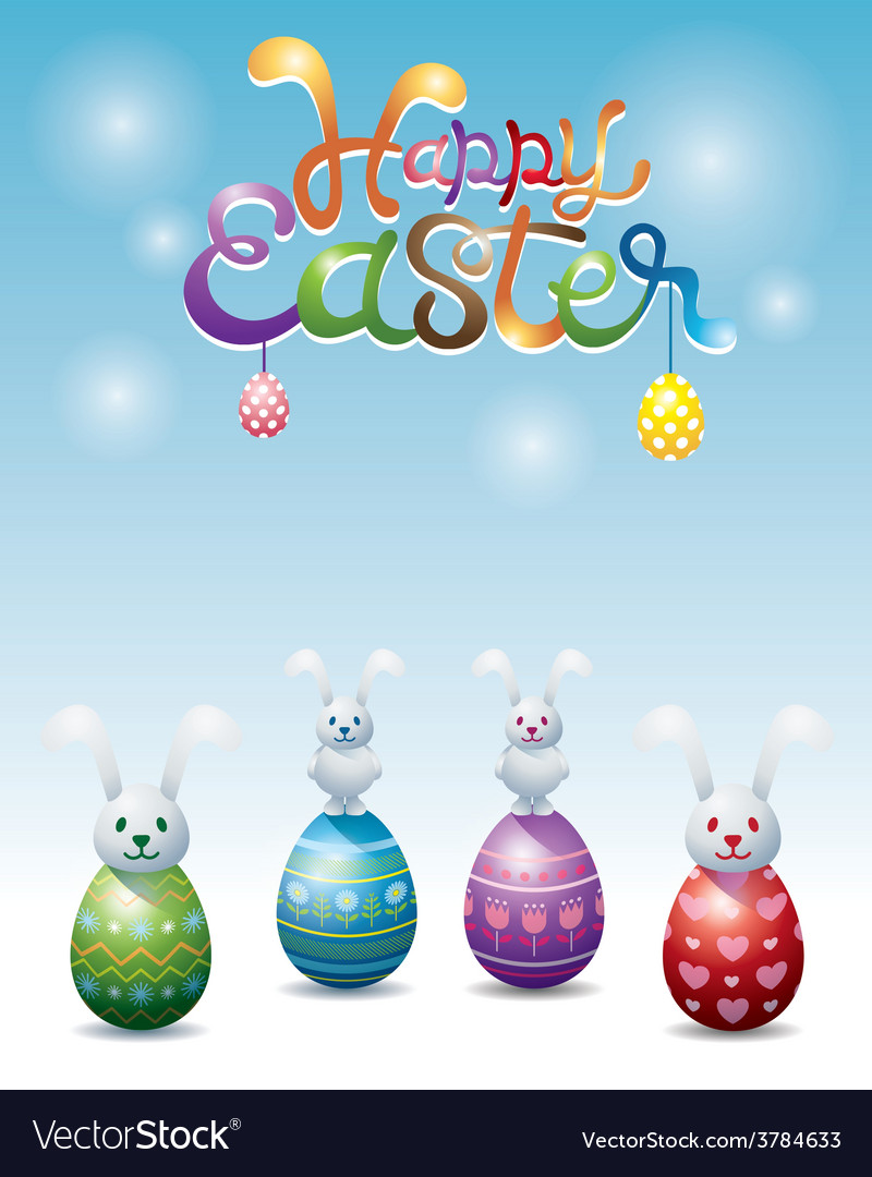 Bunnies rocking dolls on easter eggs vector | Price: 3 Credit (USD $3)