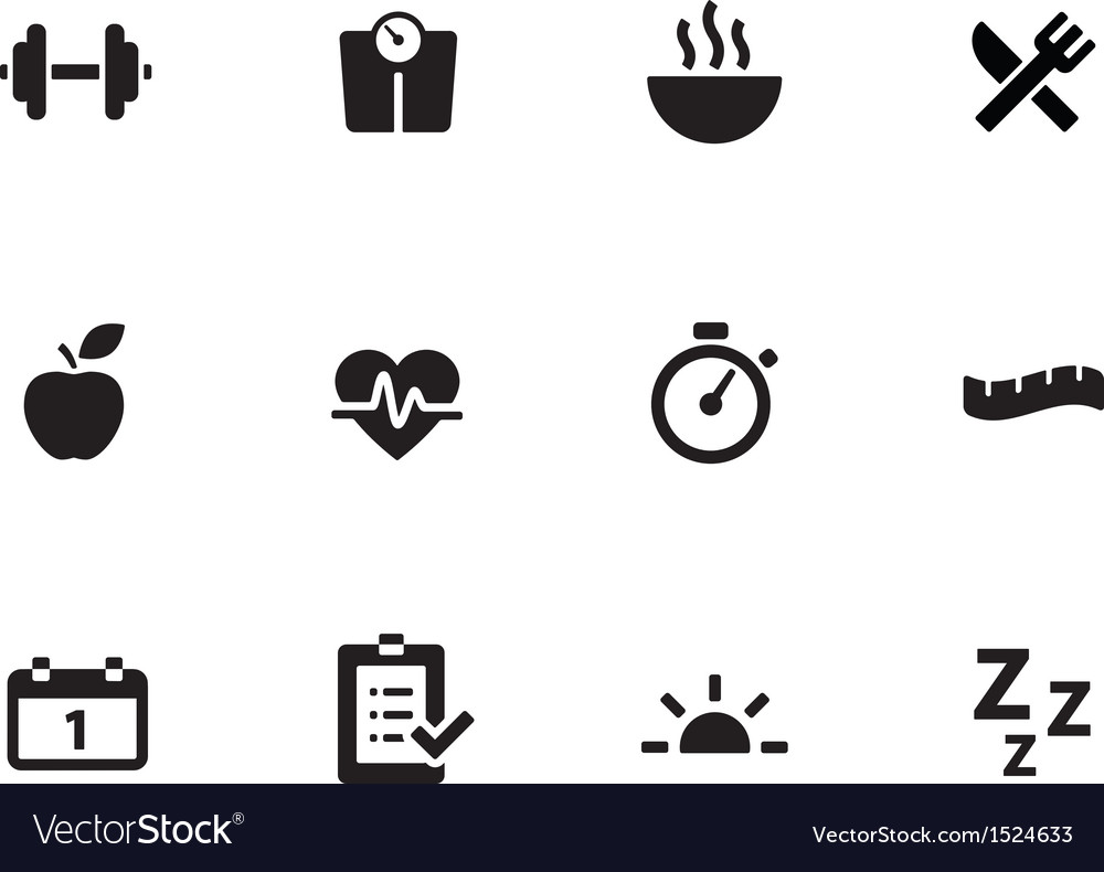 Fitness icons on white background vector | Price: 1 Credit (USD $1)