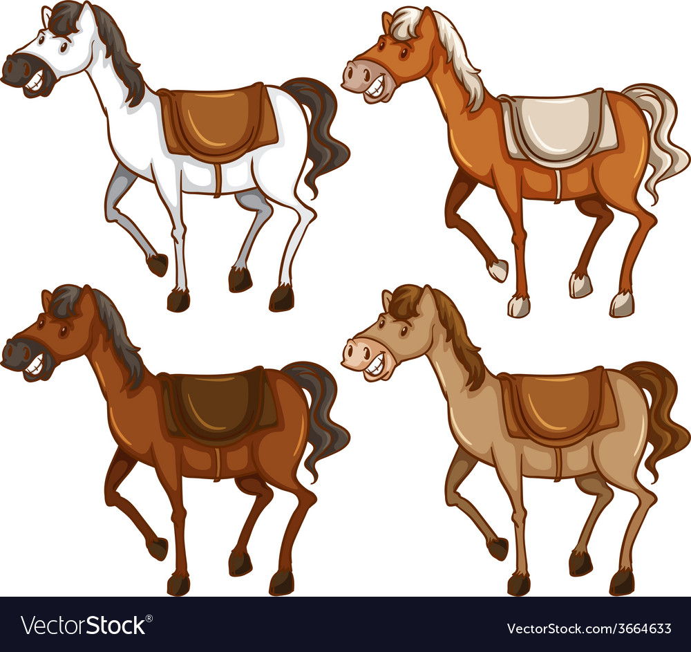 Four horses vector | Price: 1 Credit (USD $1)
