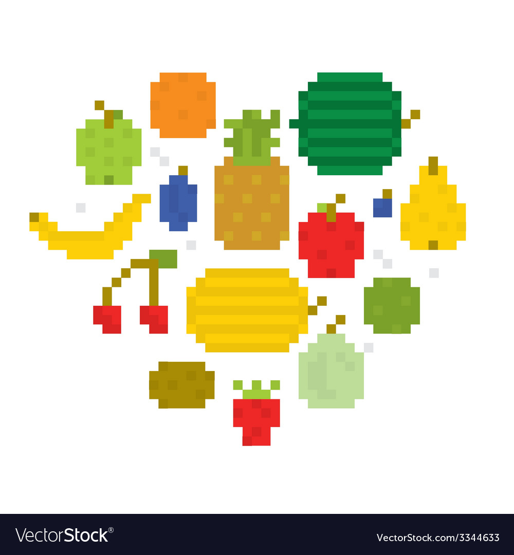 Heart of fruits pixel art i vector | Price: 1 Credit (USD $1)