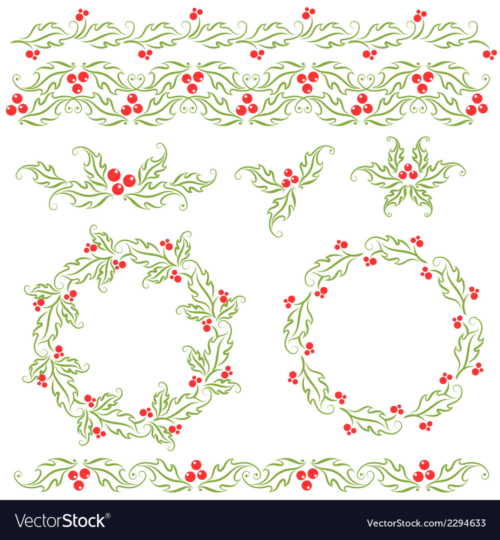 Holly decorative christmas design elements vector | Price: 1 Credit (USD $1)