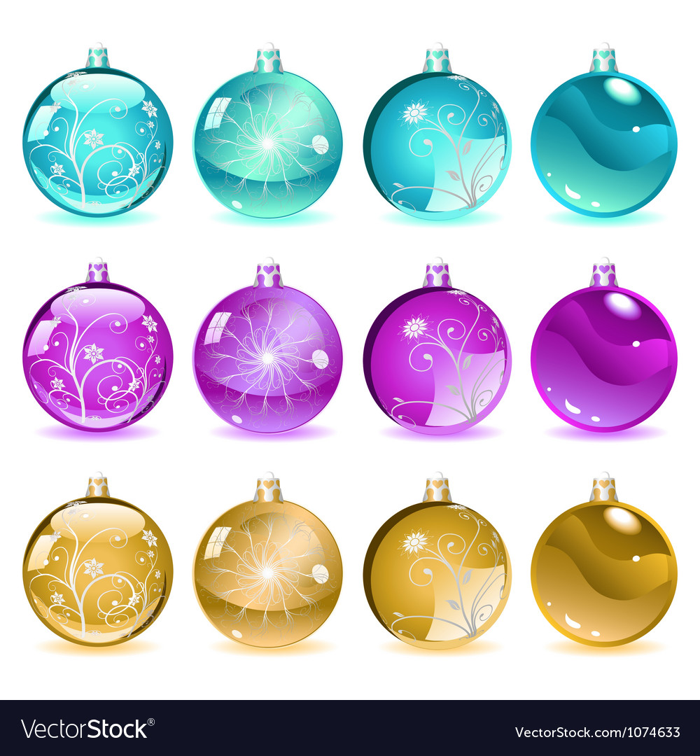 Multicolored christmas balls set 4 of 4 vector | Price: 1 Credit (USD $1)