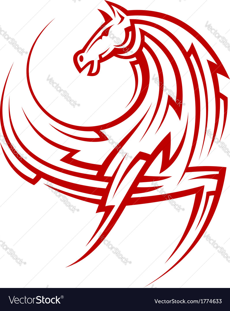 Powerful tribal red horse vector | Price: 1 Credit (USD $1)