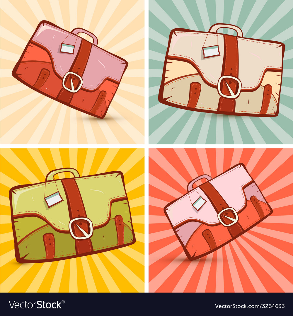 Retro suitcase set on vintage background vector | Price: 1 Credit (USD $1)
