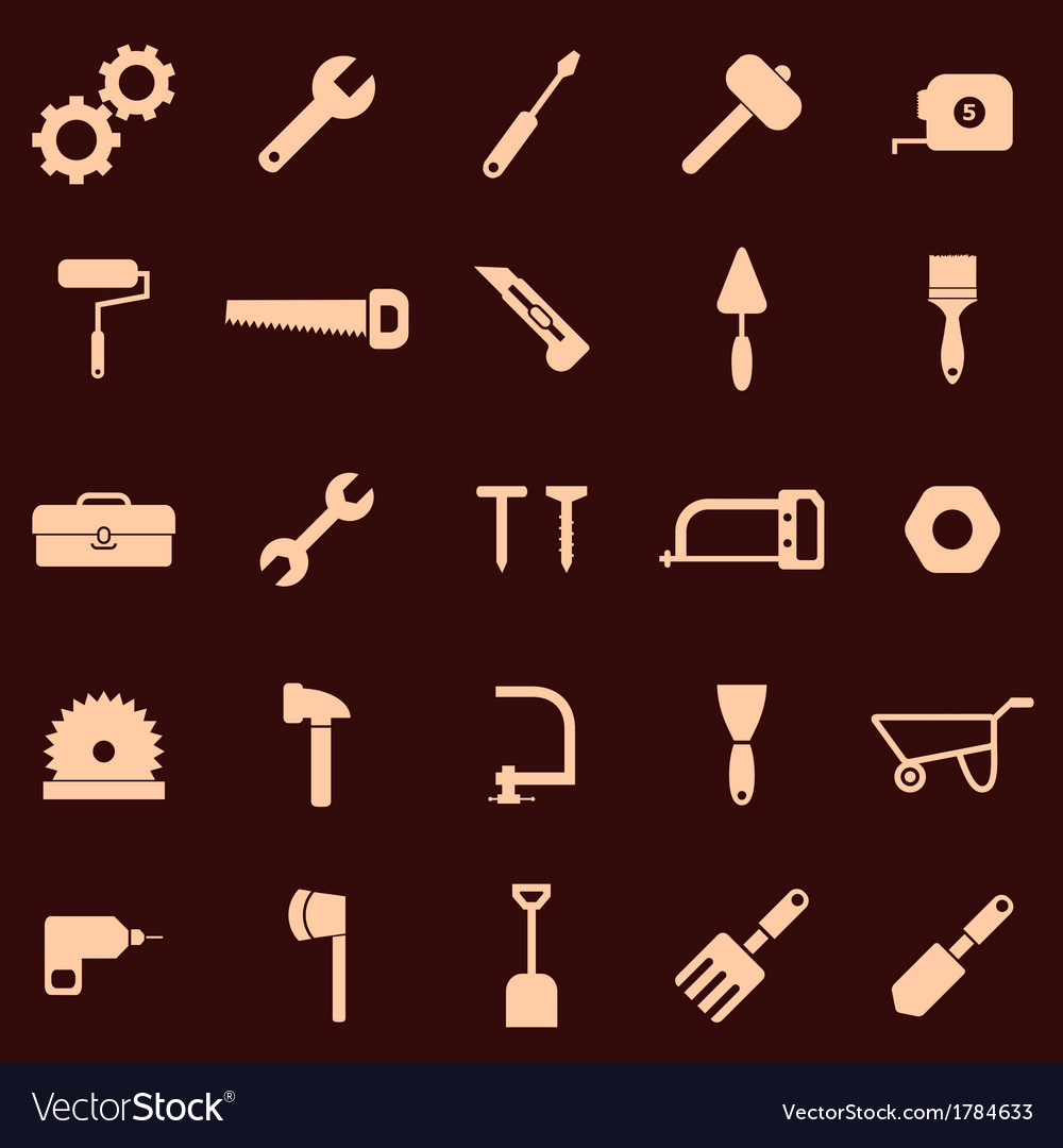 Tool icons on red background vector | Price: 1 Credit (USD $1)