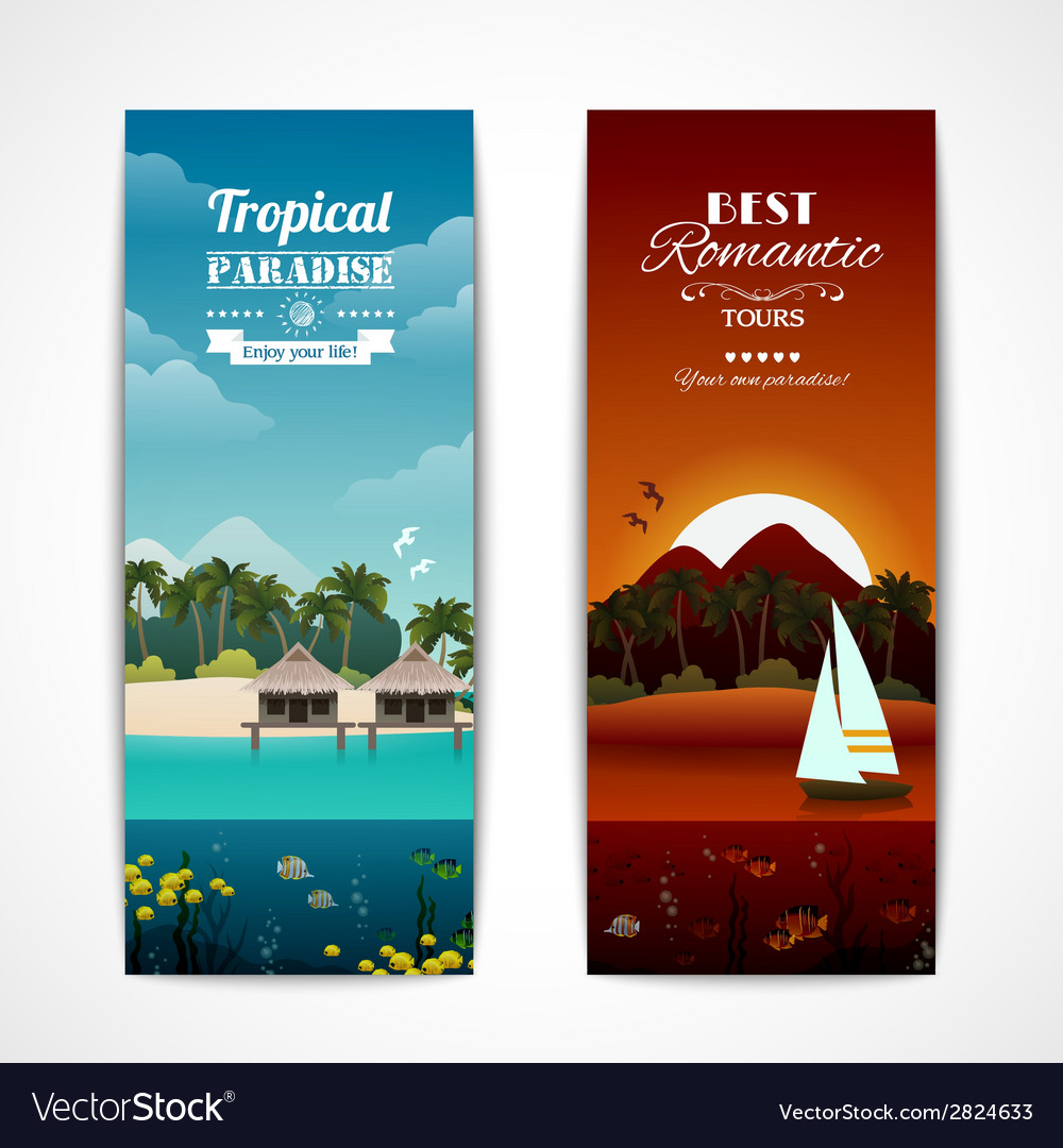 Tropical island vertical banners vector | Price: 1 Credit (USD $1)