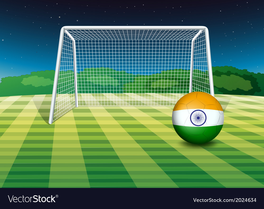 A soccer ball near the net with the flag of india vector | Price: 1 Credit (USD $1)