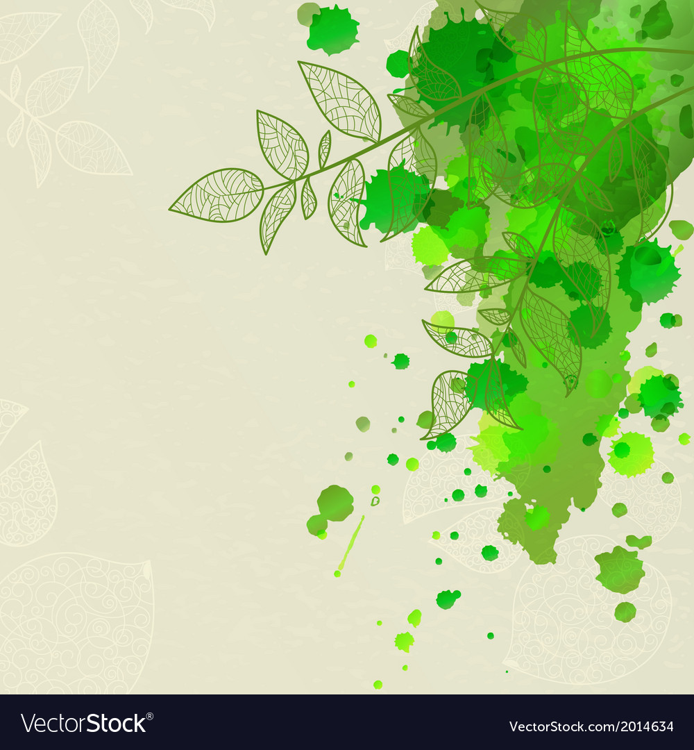 Background with green blots and leaves vector | Price: 1 Credit (USD $1)
