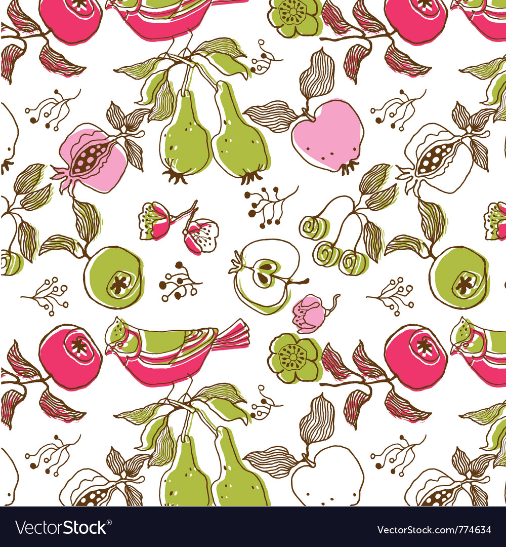 Bird and fruit wallpaper vector | Price: 1 Credit (USD $1)