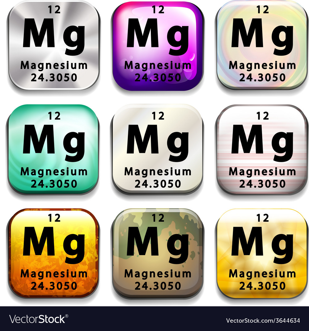 Buttons showing magnesium and its abbreviation vector | Price: 1 Credit (USD $1)