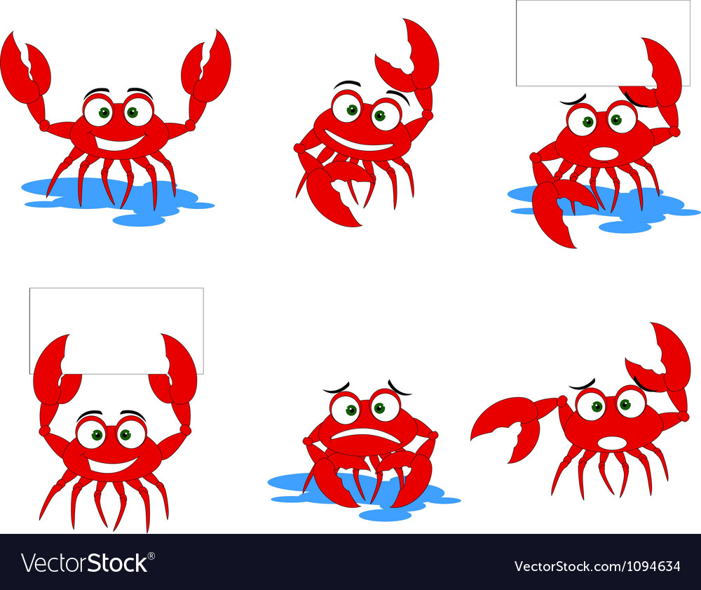 Funny red crabs cartoon collection vector | Price: 1 Credit (USD $1)