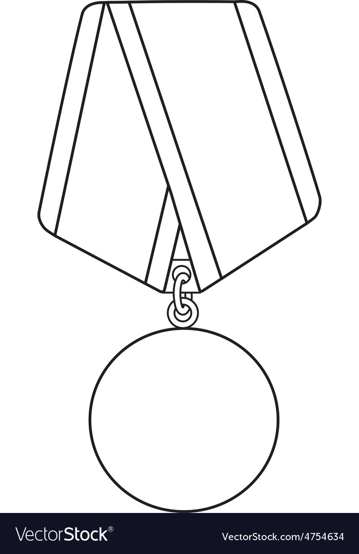 Medal outline drawing vector | Price: 1 Credit (USD $1)