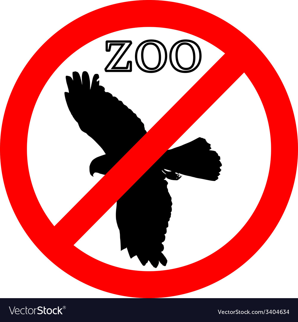 Raptor in zoo prohibited vector | Price: 1 Credit (USD $1)