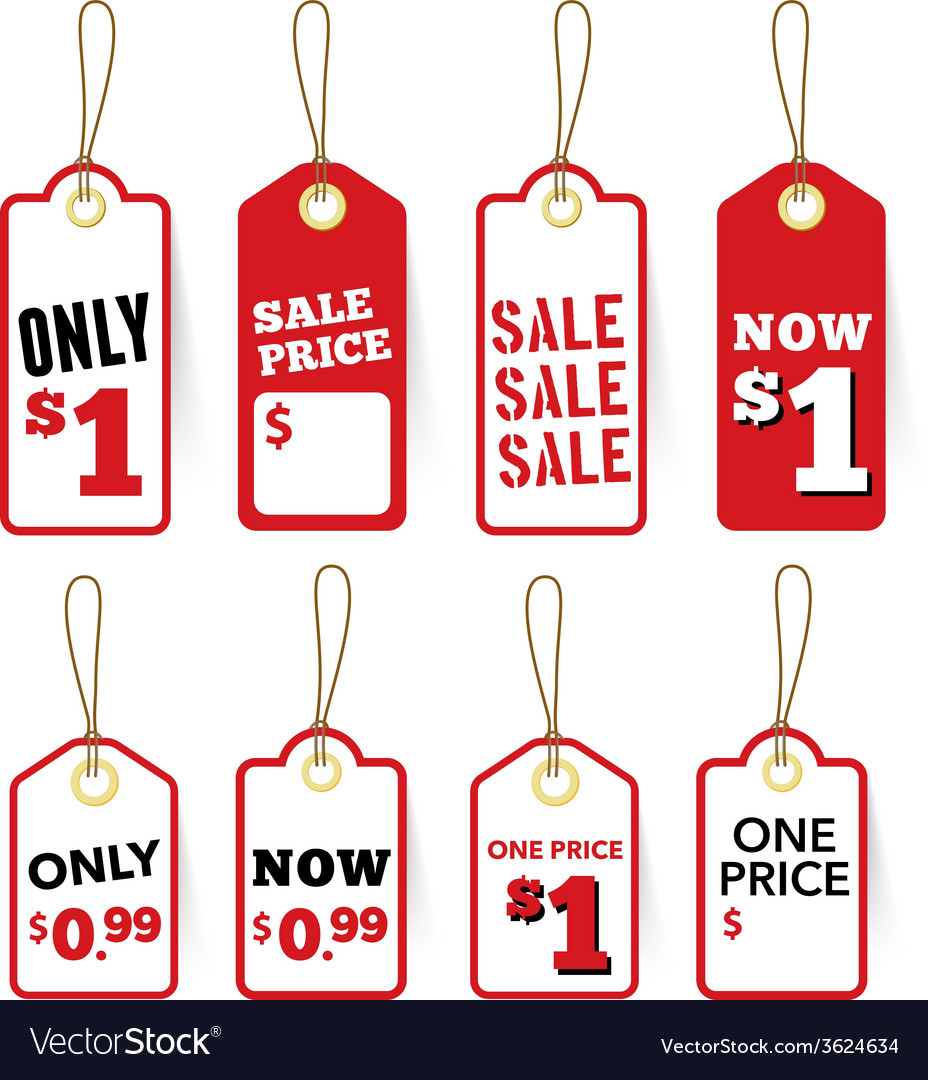 Retail sale tags price and one price label vector | Price: 1 Credit (USD $1)