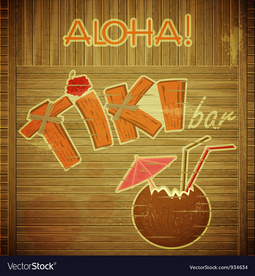 Retro design tiki bar menu on wooden background vector | Price: 3 Credit (USD $3)