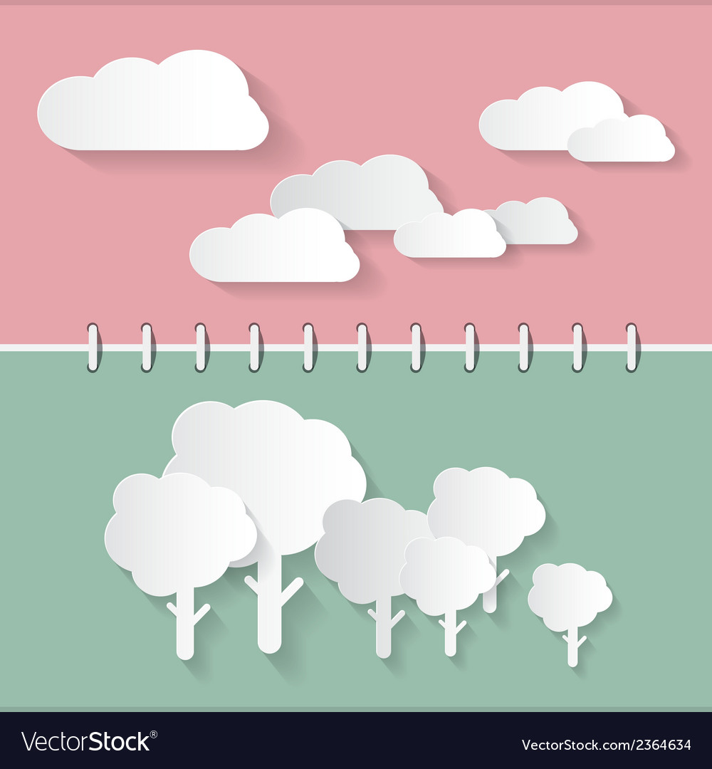 Retro paper clouds and trees on notebook vector | Price: 1 Credit (USD $1)