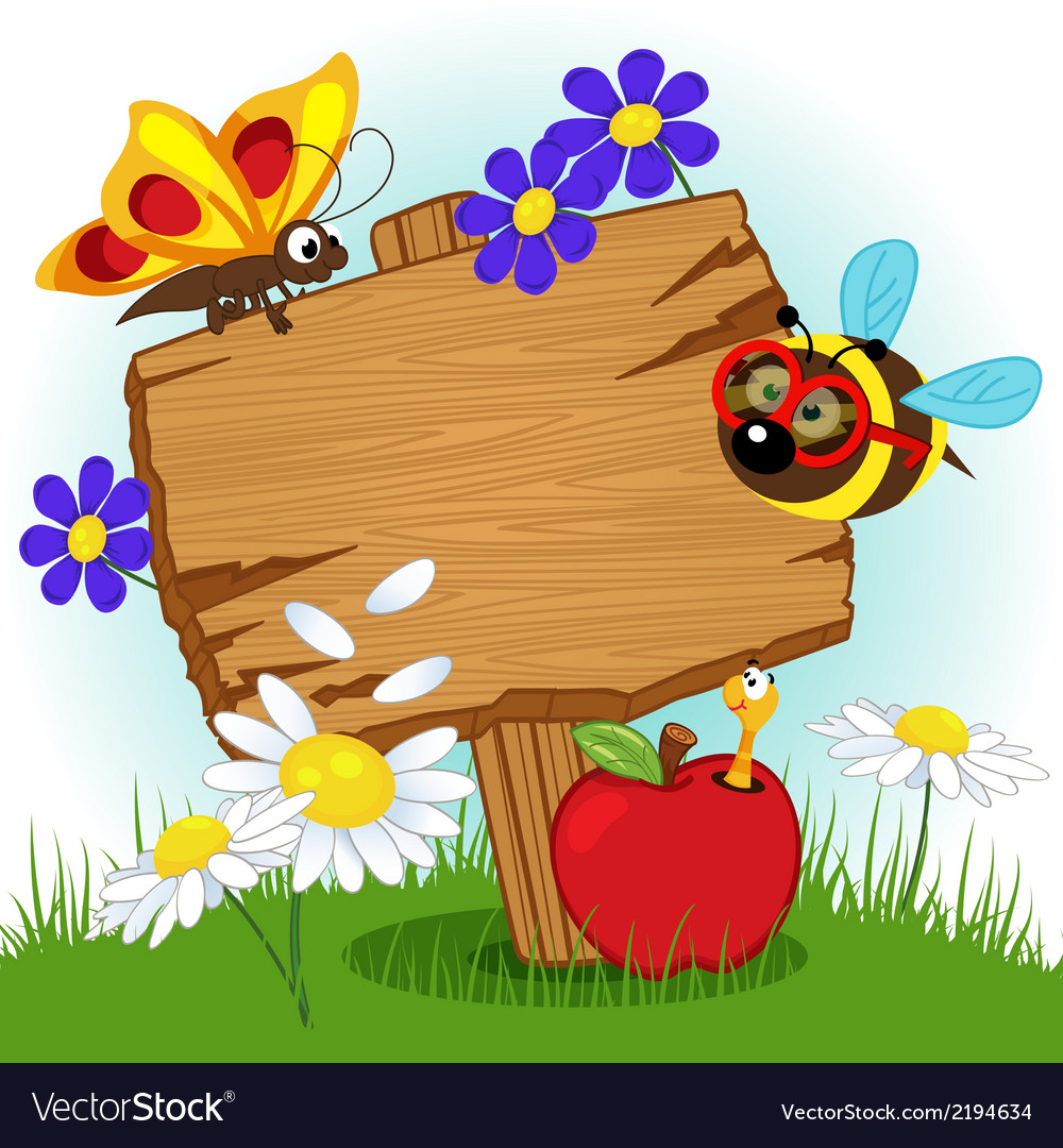 Wooden sign with flowers and insects vector | Price: 1 Credit (USD $1)