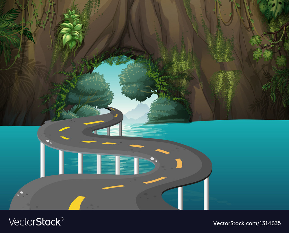 A long road at the cave vector | Price: 1 Credit (USD $1)