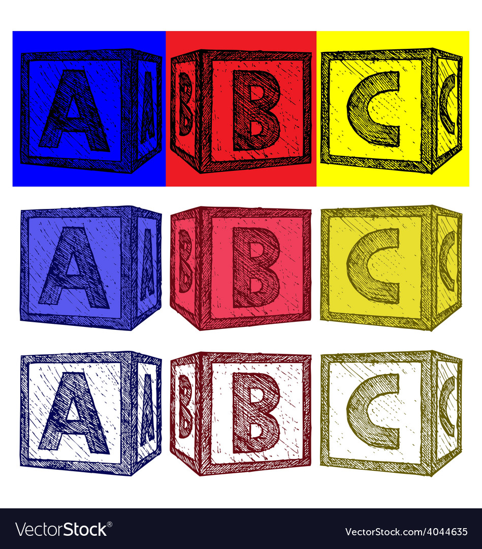 Alphabet cubes with abc letters vector | Price: 1 Credit (USD $1)