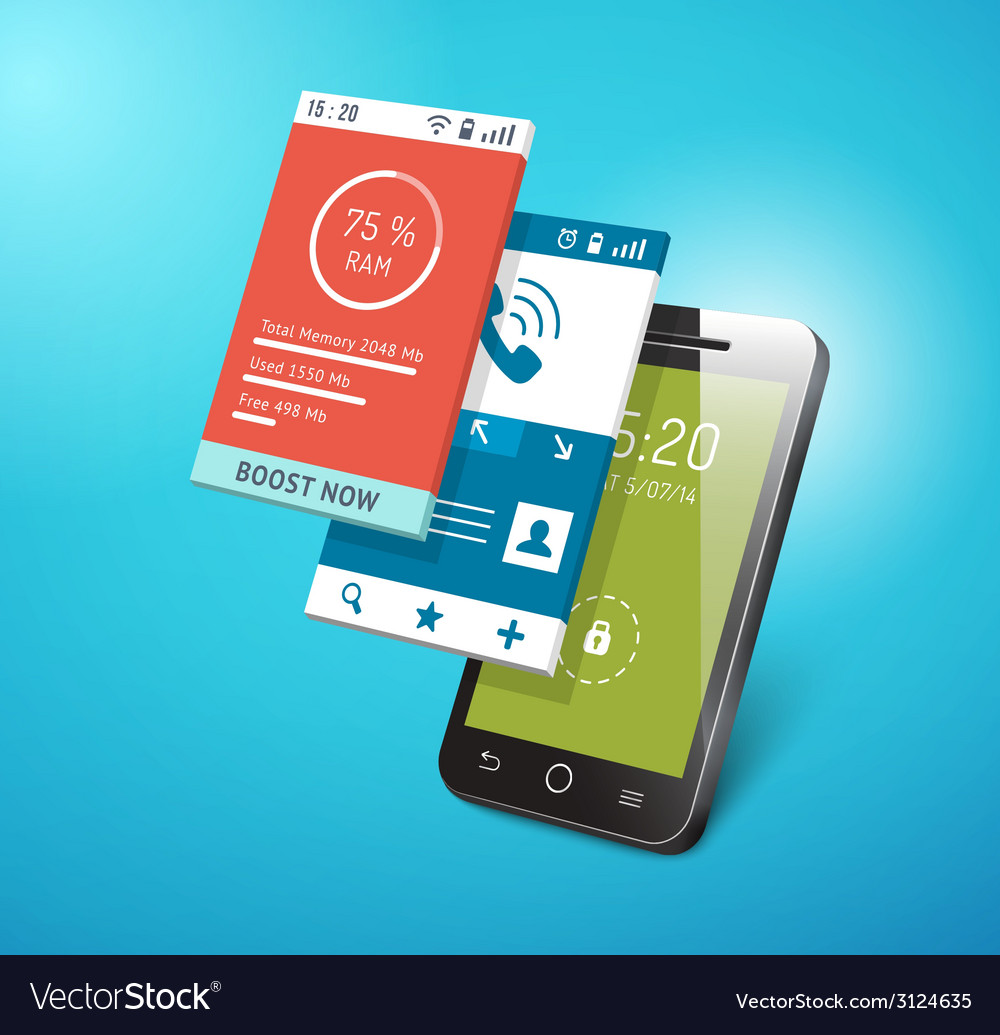 Application on smartphone screen vector | Price: 1 Credit (USD $1)