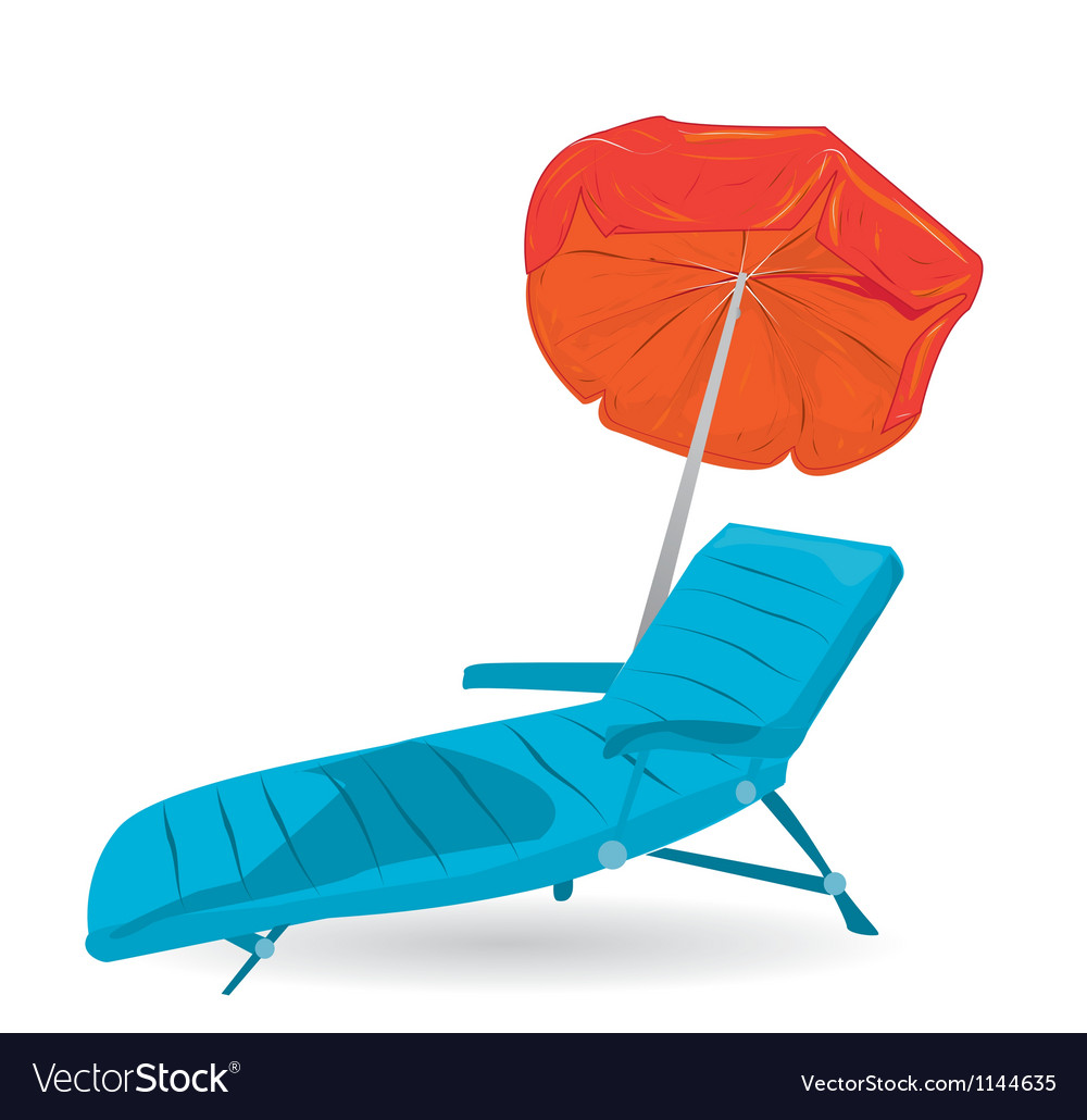 Beach chair with umbrella vector | Price: 1 Credit (USD $1)