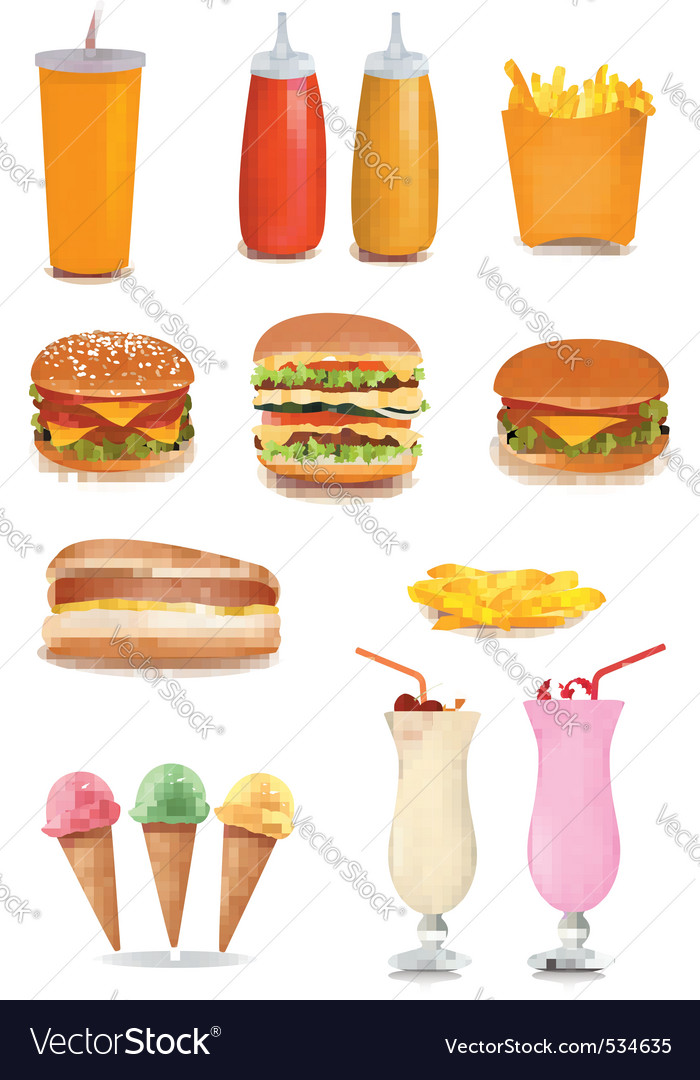 Big group of fastfood product vector | Price: 3 Credit (USD $3)