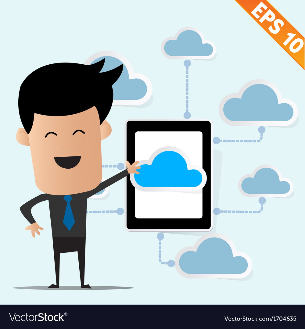 Business man with tablet pc on cloud computing - vector | Price: 1 Credit (USD $1)